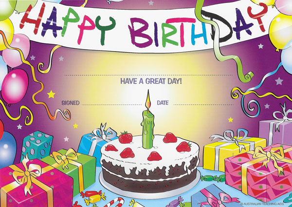 Happy Birthday Cake Merit Certificates (CARD) Pack 100 - Ziggies ...