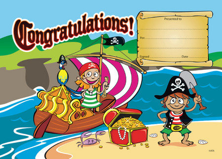 Pirate Tresaure Congratulations Certificate Pack   Ziggies