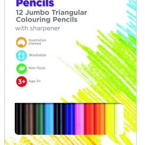 Jumbo Triangular Washable Colouring Pencils. Set of 12 + sharpener